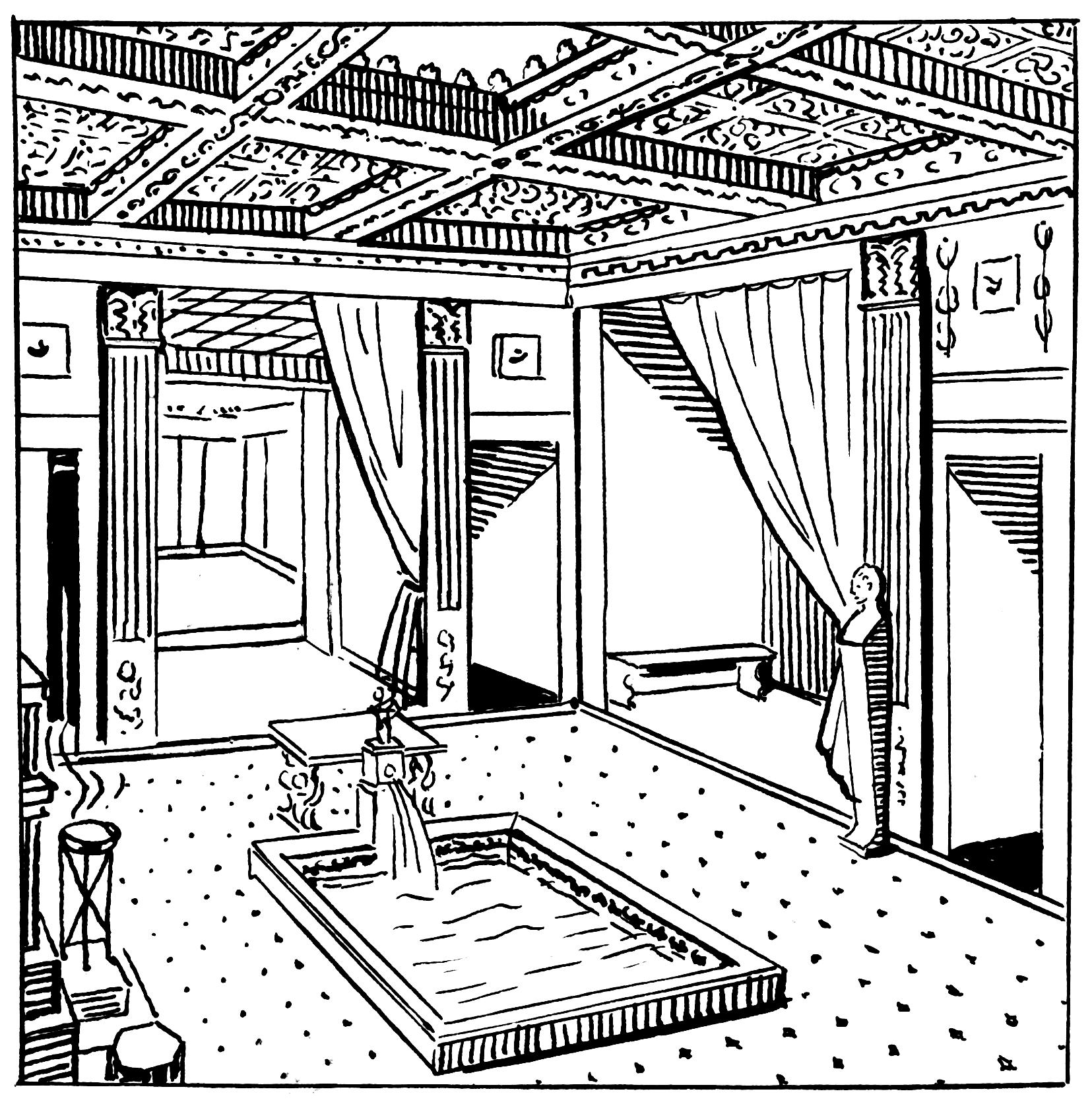 Dom Grecko-rzymski – układ pomieszczeń, wystrój wnętrz